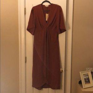rust red midi dress
